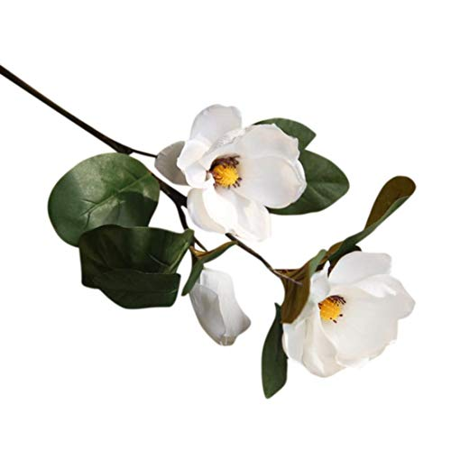 Artificial Flowers, MaxFox Leaf Magnolia Fake Bouquet Long Branch Flower Bouquets Home Office Wedding Party Decor (White) ()