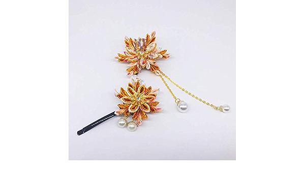 Handmade Japanese Hair Pin Sakura Crane Clip Kanzashi Wedding Ornament 1pc