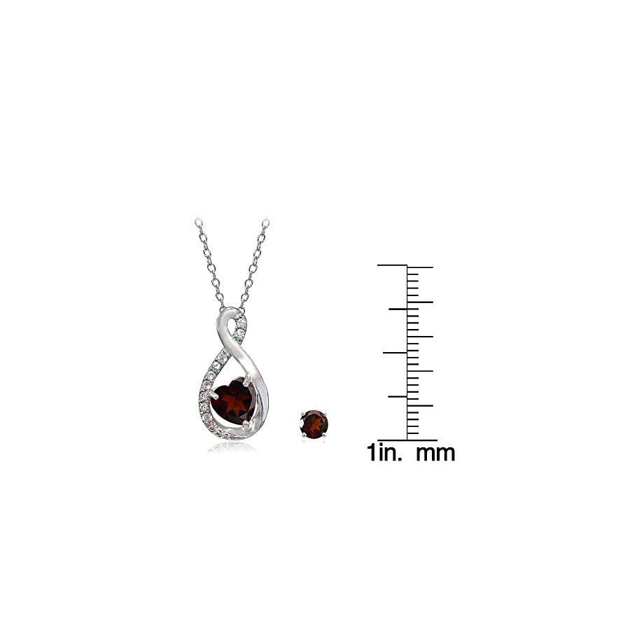 Lovve Sterling Silver Gemstone & White Topaz Infinity Heart Necklace Earrings Set