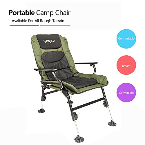 ble Reclining Camping Chair, Mesh Padded Back Professional Fishing Stool, Foldable Chair, Outdoor Camping/Picnic/Hiking/Beach Portable Chair, 350LBS Capacity, FREE Durable Bag (Canvas Recliner)