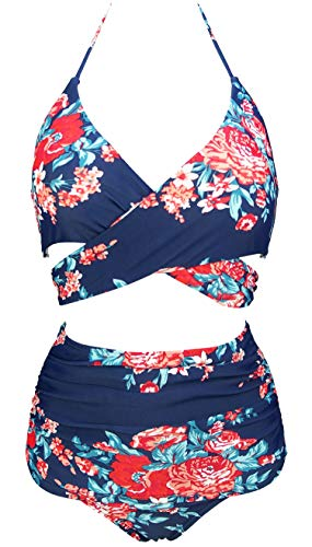 COCOSHIP Red Pink & Navy Blue Antigua Floral Vintage Ruched High Waist Bikini Set Cross Push Up Sport Tie Back Cruise Swimwear 4 (Wrap High Bikini Waist)