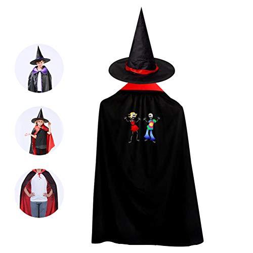 69PF-1 Halloween Cape Matching Witch Hat Crazy Skeleton Dance Wizard Cloak Masquerade Cosplay Custume Robe Kids/Boy/Girl Gift Red