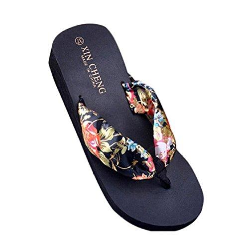 Beach Sandals Wedge Platform Thongs Slippers Flip Flops (38, Black) (Eva Foam Flip Flops)