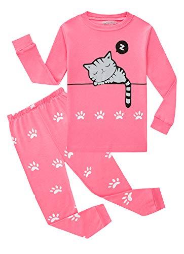 Cat Big Girls Long Sleeve Pajamas Sets 100% Cotton Pyjamas Kids Pjs Size 12