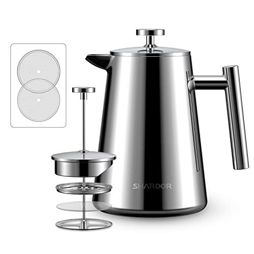 SHARDOR French Press Coffee Maker (34 oz) – Stainless Steel Coffee Press with 4 Level Filter – Heat Resistant Carafe