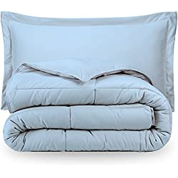 Bare Home Ultra-Soft Premium 1800 Series Goose Down Alternative Comforter Set - Hypoallergenic - All Season - Plush Fiberfill, Twin Extra Long (Twin XL, Light Blue)