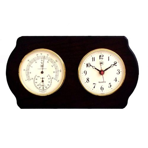 Desk Clock W Thermometer Amp Hygrometer In Mahogany Finish Wood