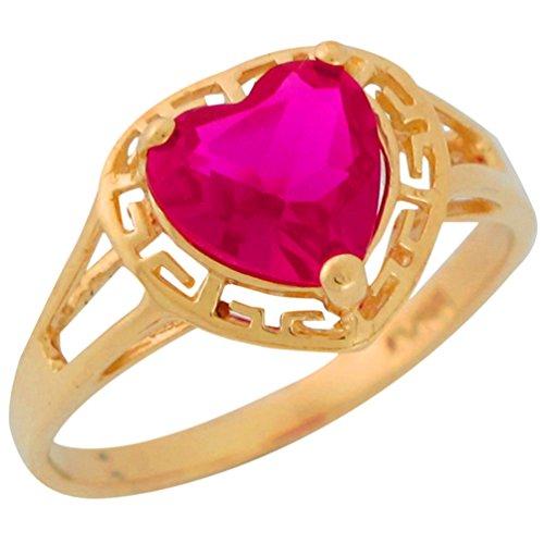 10k Yellow Gold Heart Cut Simulated Ruby Ladies Greek Key July Birthstone ()