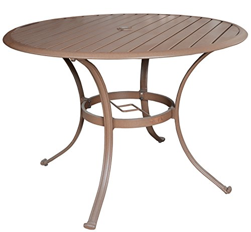 Panama Jack Outdoor PJO-1001-ESP-42 Island Breeze Slatted Aluminum Round Dining Table in Espresso Finish with Umbrella Hole, 29