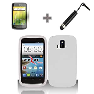 3-in-1 Bundle - Case, Screen Protector and Stylus Pen for Premium Silicone Cover Case - White - ZTE Sonata 4G Z740 / Radiant Z740G (AIO Wireless)