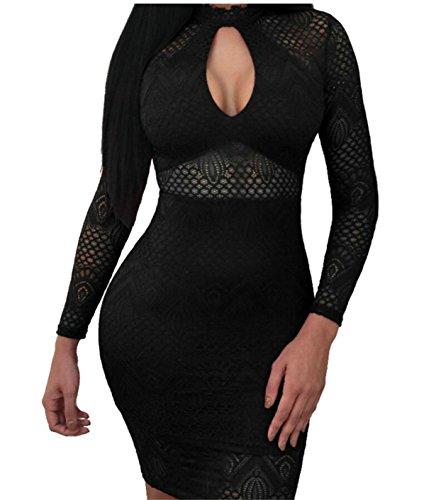 Sexy Dress Party Bandage Black Keyhole Womens Midi Jaycargogo Long Sleeve 5HaaqZ