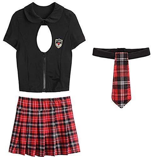 (SS Queen Women Sexy Schoolgirls Uniform Lingerie Set Outfit Crop Top Cosplay Costume (one Size,)
