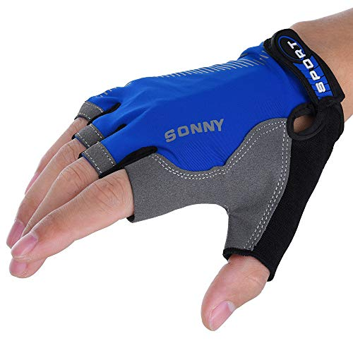 PASATO Cycling Glove Unisex Padding Breathable Mesh Design Motorcycle Bicycle Mountain Riding Driving Sports Outdoors(Blue,Free Size)