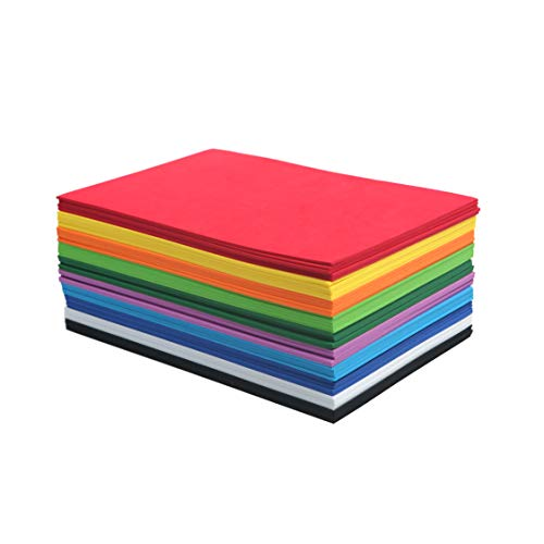 EVA Foam Handicraft Sheets (50 Pack - 6 x 9 Inches) Colorful Crafting Sponge for DIY Projects by My Toy House | Thick and Soft Paper, 10 Colors 5 Each