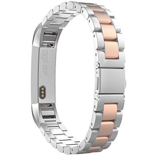 MoKo Fitbit Alta HR and Alta Band, Universal Stainless Steel Replacement Watch Strap Bracelet with Spring Pin for Fitbit Alta / Fitbit Alta HR, Tracker NOT Included - SILVER & Rose GOLD by MoKo