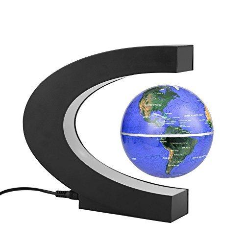 Top Gravity Amazing Anti (Funny C shape Decoration Magnetic Levitation Floating Globe World Map 3 inch anti gravity globe LED Light Christmas children novelty Gift Xmas Santa Decor Home (Blue))