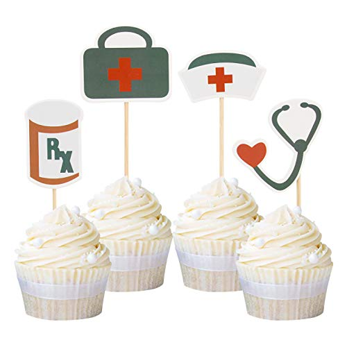 Newqueen 24 Pack Nursing Cupcake Toppers Nurse Graduation Cupcake Topper Medical Rn Themed Birthday Party Cake Decoration Picks -
