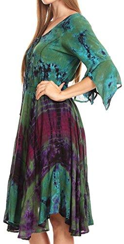 Vestito Sakkas In Verde Cascata Maniche Da Fazzoletto Corsetto Con UwCpqzw