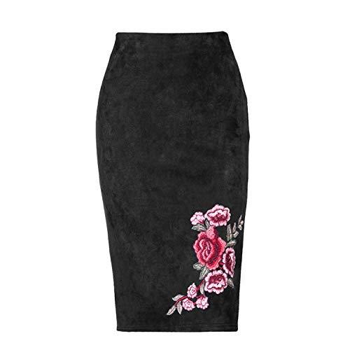 Jupe Femme Black Jupes Jupe Hiver Automne Gris Stretch Femmes Midi Broderie Florale Bodycon Saias Daim Crayon rAZYrw