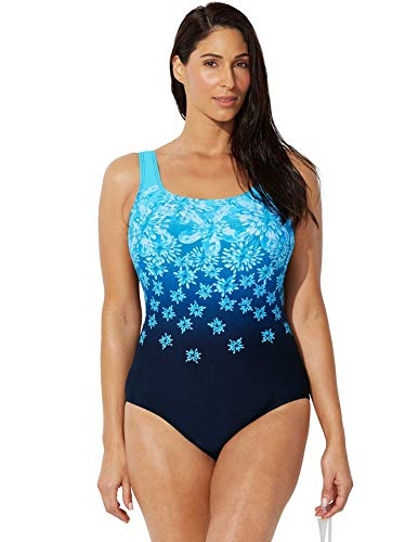 Swimsuits for All Women's Plus Size Chlorine Resistant Floral One Piece Swimsuit 16 ()