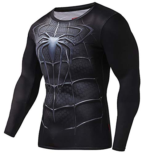 Black Spiderman T-Shirt for Men Venom Cosplay Costume Men's Sportswear Training Suit (XL) -