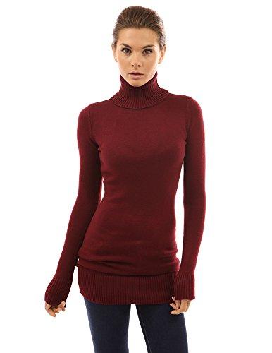 PattyBoutik Women Turtleneck Long Sleeve Sweater (Burgundy Large)