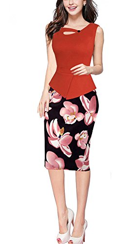 REPHYLLIS Women's Elegant Chic Bodycon Formal Wear to Work Pencil Dress