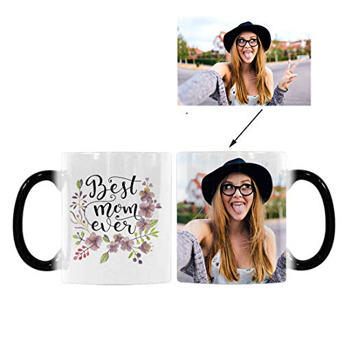Flower Photo Coffee Mug - Custom Personalized Photo Printed Heat Sensitive Color Changing Coffee Mug, Best Mom Ever Flower 11oz Morphing Tea Cup for Mom Mother