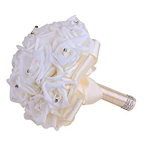 Vlovelife Ivory Wedding Bouquet Bridal Bridesmaid Bouquets Artificial Rose Flower Handmade Posy Wedding Home Decor 38