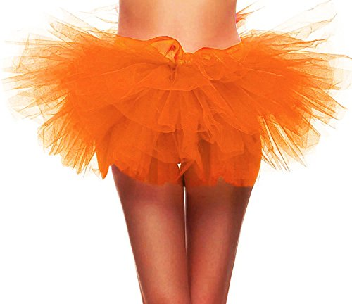 Simplicity Women's Classic 5 Layered Tulle Tutu Party Dance Skirt, Orange