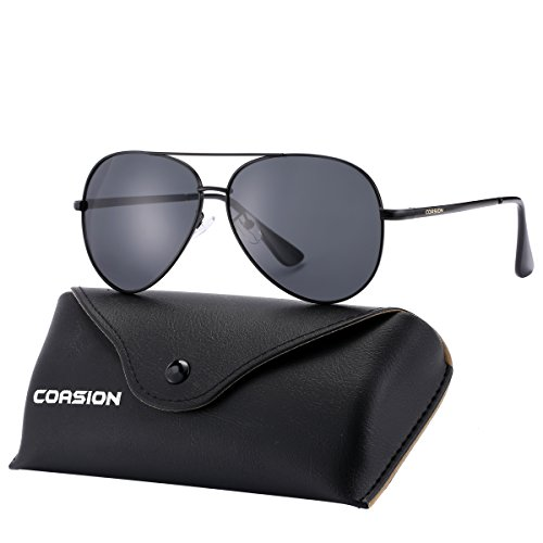 Polarized Aviator Sunglasses for Large Face Women Men UV400 Protection (Black Frame/Black Lens)