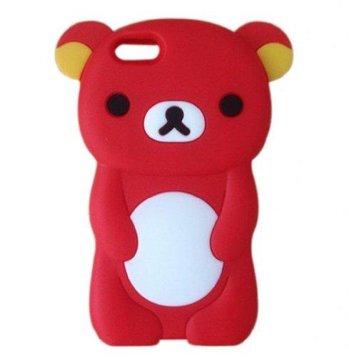 Oddless Entities 3D Cute Silicone Rubber Cartoon Teddy Rilakkuma Bear Case for iPhone 5C (Red) (I Phone 5c Case Teddy Bear)