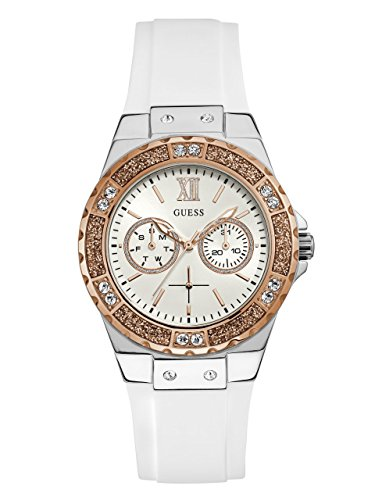 Guess White Dial Watch - GUESS  Stainles Steel + Rose Gold-Tone White Stain Resistant Silicone Watch with Day + Date Functions. Color: White (Model: U1053L2)