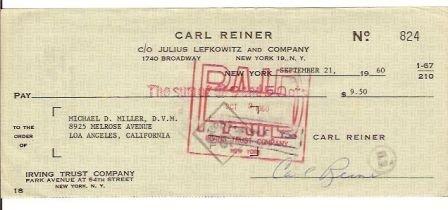 Carl Reiner Signed Original Check
