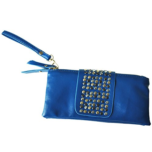 TOOGOO(R) Vendita calda donne dellunita di elaborazione del sacchetto di modo del cuoio del ribattino delle donne di modo borsa portafoglio frizioni-albicocca Blu