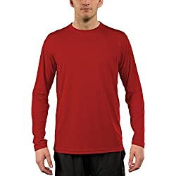 Vapor Apparel Men's UPF 50+ Long Sleeve Sun Protection Performance T-Shirt Large Mars Red