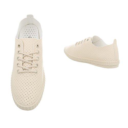 Ital-Design Sneakers Low Damenschuhe Schnürsenkel Freizeitschuhe Beige 1838-5