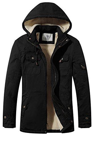 WenVen Men's Soft Shell Sherpa Lined Lightweight Cotton Hooded Jacket(Black,XL)