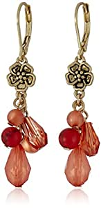 "NINE WEST VINTAGE AMERICA ""Shake It Off"" Worn Gold-Tone Coral Multi-Shaky Leverback Drop Earrings"