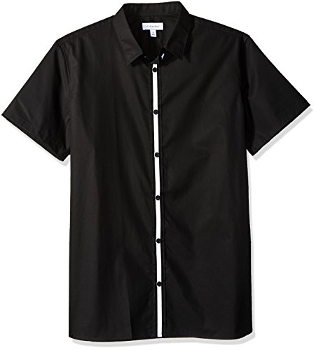 Calvin Klein Men's Short Sleeve Woven Button Down Shirt, Black Center Stripe, XL