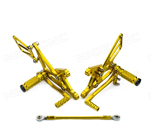 NICECNC Gold Motorcycle Racing Fully Adjustable Rearset Footrests Foot Pegs Rear Set Replace Kawasaki Ninja ZX-6R/ZX636 2005 2006 2007 2008 (Racing Rear Sets)