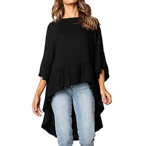 (ERLOU T-Shirts Women's Summer Fashion Casual O-Neck Solid Color Irregular Hem Half Sleeve Tunic Tank Tops Blouse (Black, M))