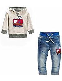 Boys Clothes Fire Truck Print Hoodie Denim Jeans 2 Pcs Outfit Set 2T-7T