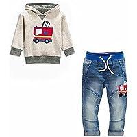 Miniowl Boys Clothes Fire Truck Print Hoodie Denim Jeans 2 Pcs Outfit Set 2T-7T