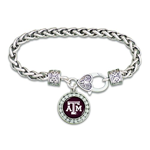 FTH Texas A&M Aggies Clasp Bracelet with Round Team Logo and Embellished with Crystals