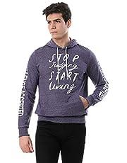 Andora Printed Kangaroo Pocket Long Sleeves Ribbed Trim Hooded Sweatshirt for Men