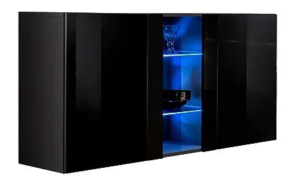 Credenza Con Led : Credenza sospesa moderna design salve nero larghezza: 120cm x