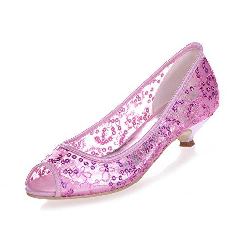 Bas Talon Dentelle Pompe L Chaussures De RéServoir Toe MariéE pink Poisson Peep 13 Mariage Femmes 0700 à YC rHSnZHW