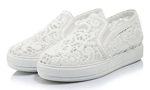 Showhow Dames Comfort Ronde Neus Slip Op Sneakers Met Mesh Wit