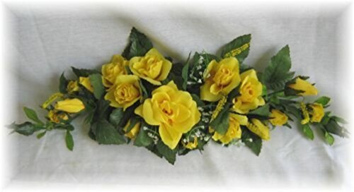 (Rose Swag Yellow Wedding Table Centerpiece Silk Flowers Arch Gazebo Decor Diy)
